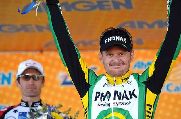 Race leader Floyd Landis on the podium. Photo copyright Roadcycling.com.