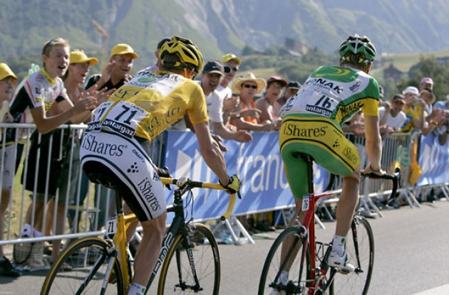 "Axel Merckx pulls Floyd Landis. Photo copyright Ben Ross/Roadcycling.com/<A HREF=""http://www.benrossphotography.com"" TARGET=_BLANK>www.benrossphotography.com</A>."