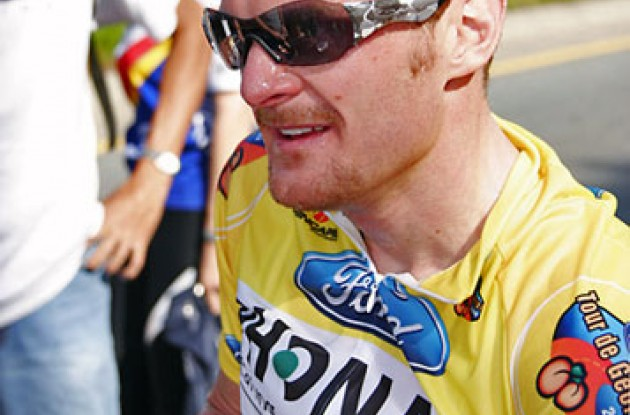 "Floyd Landis looking tired but satisfied. Photo copyright Ben Ross/Roadcycling.com/<A HREF=""http://www.benrossphotography.com"" TARGET=_BLANK>www.benrossphotography.com</A>."
