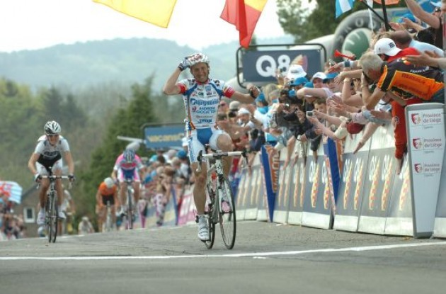 Davide Rebellin wins the Fleche Wallonne race for the third time.