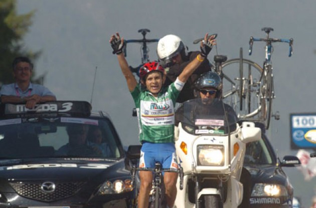 José Rujano takes a stage win in the Tour of Italy. Photo copyright Fotoreporter Sirotti.