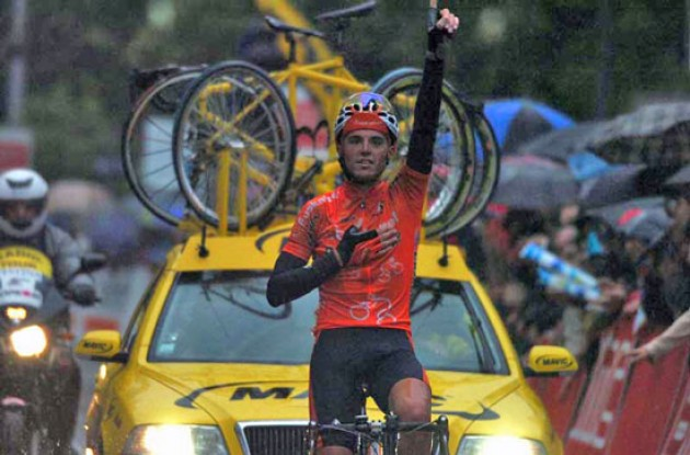 Sanchez takes the win. Photo copyright Roadcycling.com.