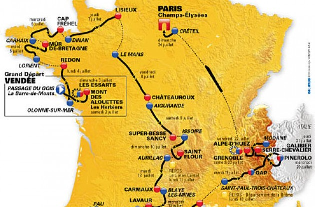The 2011 Tour de France route will perfectly suit climbers such as Andy Schleck and Alberto Contador although it remains unclear whether the three-time champion will be allowed to take part.
