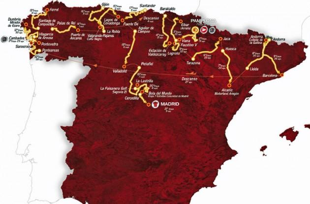 2012 Vuelta a Espana map.