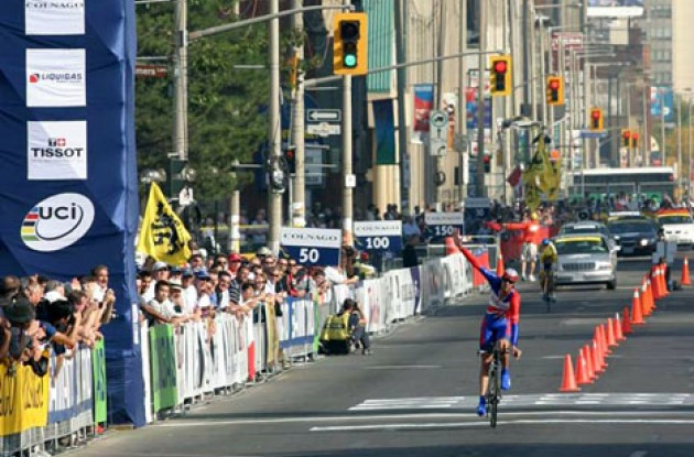 David Millar at the finish line. Photo copyright Paul Sampara Photography.