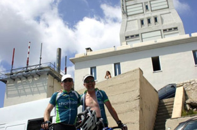 All great fifty nine year old cyclists are at the top of Mont Ventoux. Photo copyright Roadcycling.com.
