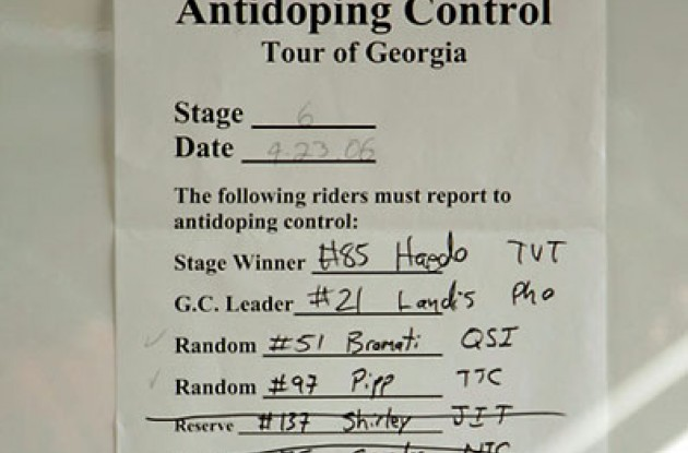 "Doping control. Photo copyright Ben Ross/Roadcycling.com/<A HREF=""http://www.benrossphotography.com"" TARGET=_BLANK>www.benrossphotography.com</A>."
