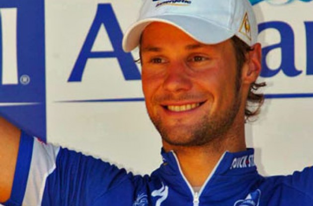 A proud and relieved Tom Boonen on the podium.