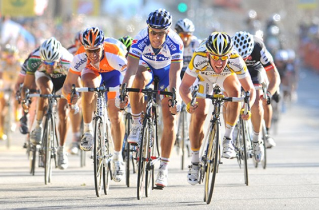 Boonen, Cavendish and Hushovd sprint for the stage win. Photo copyright TDWSports.com.