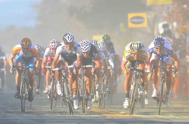 Cavendish, Boonen, Haedo and Hushovd fight for the win in the Californian mist. Photo copyright TDWsports.com.