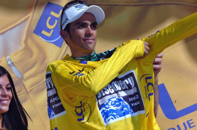 Alberto Contador (Team Discovery Channel) on the podium. Photo copyright Fotoreporter Sirotti.