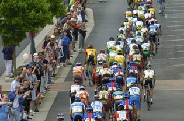 The peleton at the start of the race in Dalton. Photo copyright Casey Gibson.
