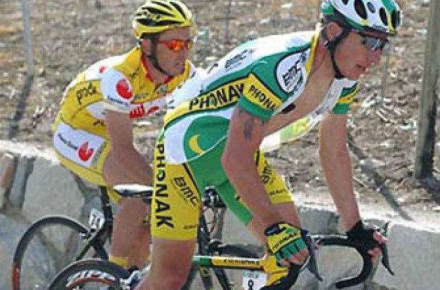 Zampieri (Phonak Hearing Systems) climbs. Photo copyright Roadcycling.com.