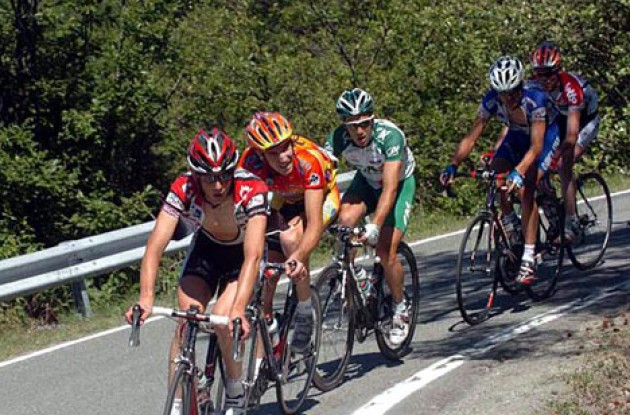 Schleck (Team CSC) leads the breakaway group up Bric Berton. Photo copyright Fotoreporter Sirotti.