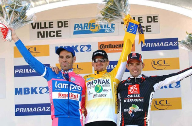 Floyd Landis (Phonak - iShares) on the Podium in Nice. Will he win the 2006 Tour de France? Stay tuned to Roadcycling.com to find out. Photo copyright Fotoreporter Sirotti.