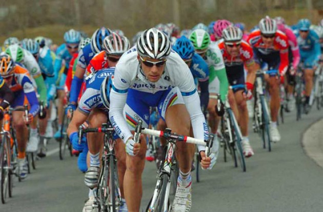 Tom Boonen (Quick Step) leads the peloton. Photo copyright Fotoreporter Sirotti.