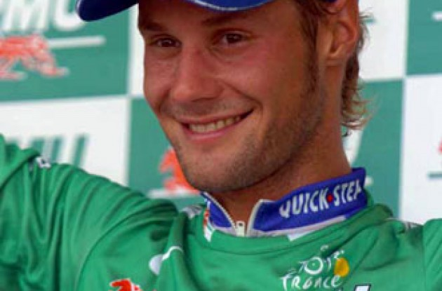 Tom Boonen on the podium wearing the green sprinter's jersey. Photo copyright Fotoreporter Sirotti.