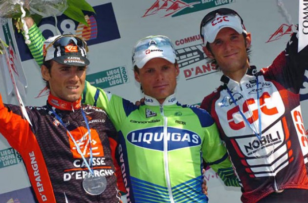 Di Luca, Valverde and Schleck on the podium in Liege.