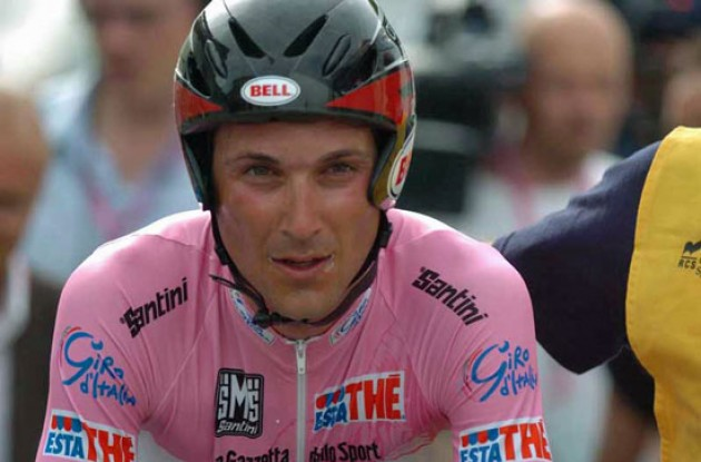 Ivan Basso after the time trial. Photo copyright Fotoreporter Sirotti.