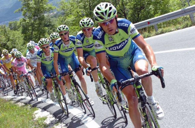 Team Liquigas pulls for Danilo Di Luca.