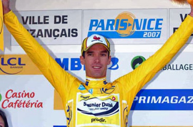 David Millar on the podium.