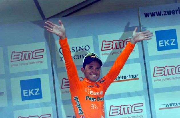 A very happy Sanchez on the podium in Zürich, Switzerland. Photo copyright Roadcycling.com.