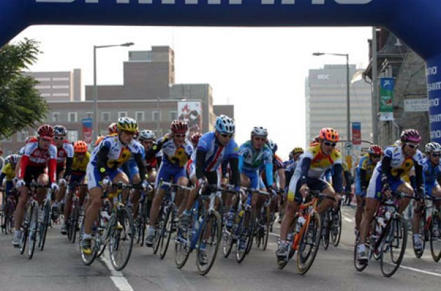 Riders heading into the first turn.  Photo copyright Paul Sampara Photography.