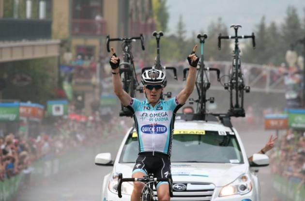 Levi Leipheimer wins stage 6 of the 2012 Tour of Utah. Photo copyright Luis Barbosa.