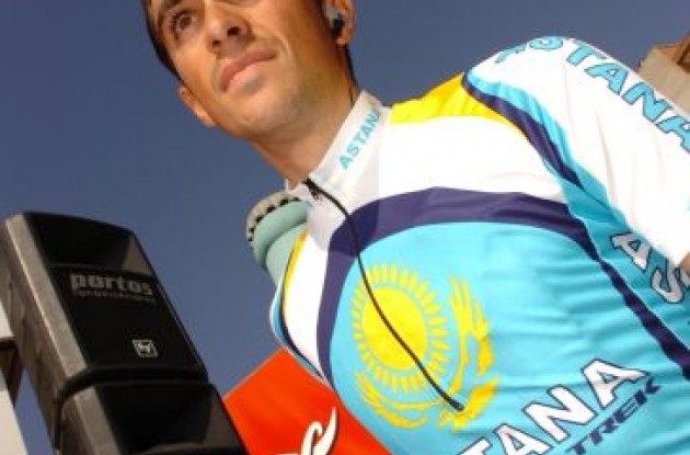 Alberto Contador - Team Astana - ready for one more day in the saddle.
