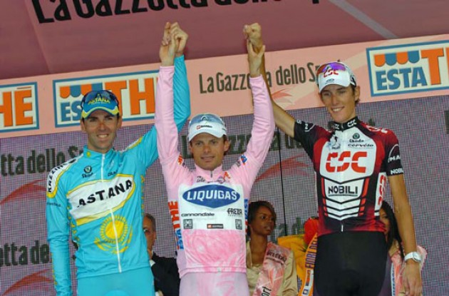 Di Luca, Schleck and Mazzoleni on the podium.