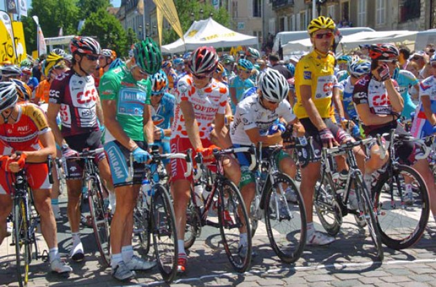 The four jerseys at the start.