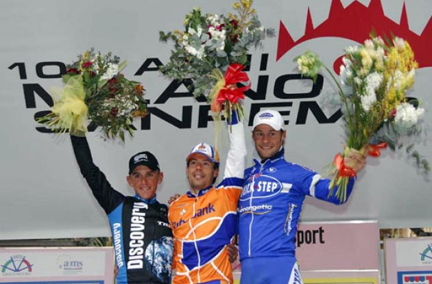 Freire, Davis and Boonen on the podium in San Remo, Italy.