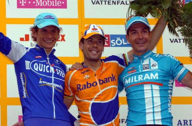 Freire, Zabel and Pozzato on the podium. Photo copyright Fotoreporter Sirotti.