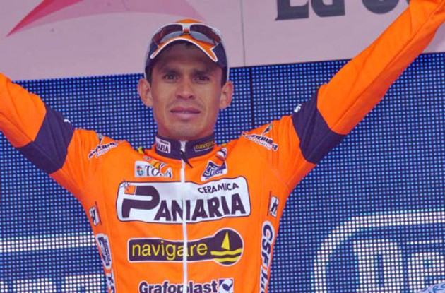 Laverde Jimenez on the podium. Photo copyright Fotoreporter Sirotti.