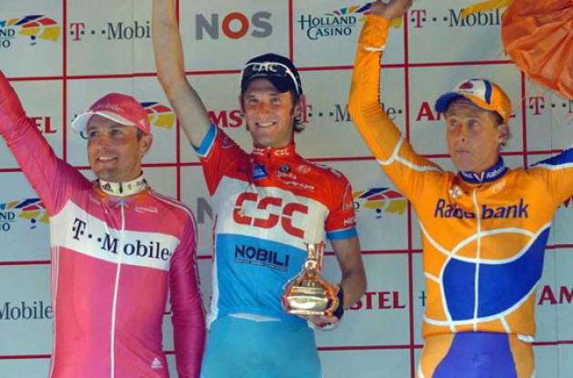 Top 3: Schleck (Team CSC), Wesemann (T-Mobile) and Boogerd (Rabobank) on the podium. Photo copyright Fotoreporter Sirotti.
