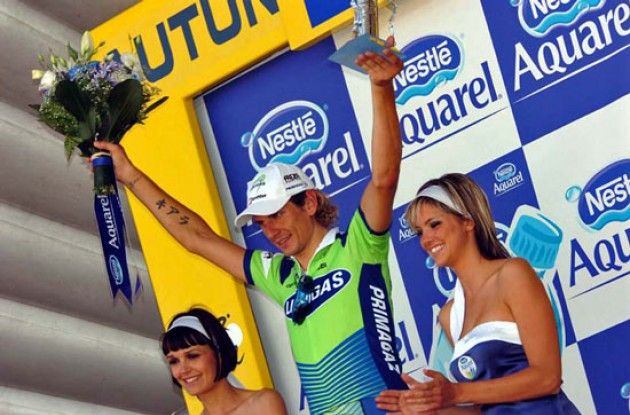 Pozzato on the podium in France.