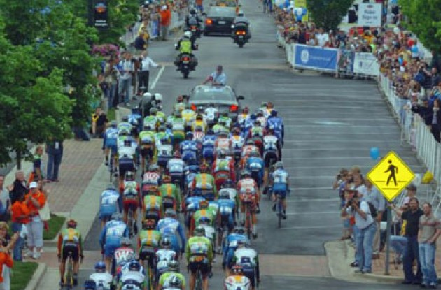 The riders close in on the start line of Stage 4 after a ceremonial lap in Dalton, GA, USA.