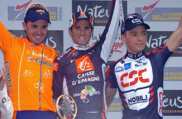 Top 3: Valverde, Sanchez and Kroon. Photo copyright Fotoreporter Sirotti.