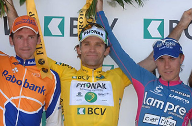 The final top 3 on the podium. Photo copyright Roadcycling.com.