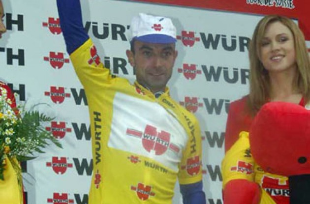 Overall race leader Vicioso on the podium. Photo copyright Fotoreporter Sirotti.