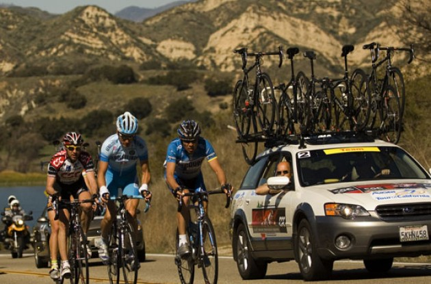 Breakaway group still working hard. Photo copyright Roadcycling.com.