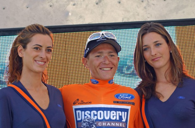 Brajkovic on the podium looking quite as happy as Vino. Photo copyright Roadcycling.com.