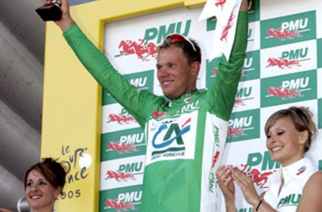 "Thor Hushovd in the green sprinter jersey. Photo copyright Roadcycling.com/<A HREF=""http://www.benrossphotography.com"" TARGET=""_BLANK"">Ben Ross Photography</A>."