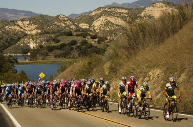 Phonak leads the peloton. Photo copyright Roadcycling.com.