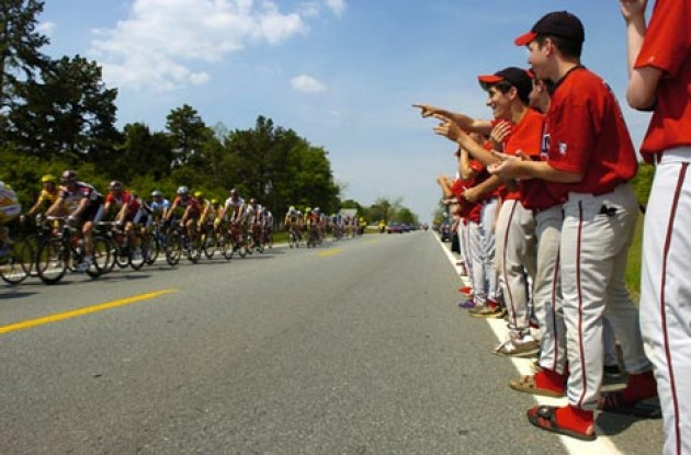 Cycling vs. baseball. Photo copyright Casey Gibson.