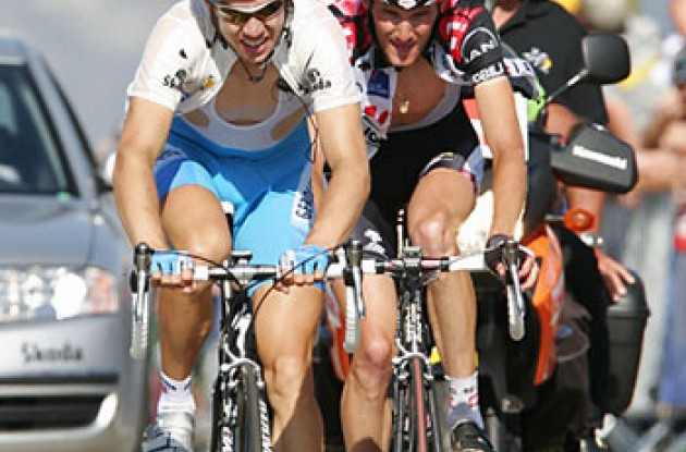 "Fothen pulls Schleck. Photo copyright Ben Ross/Roadcycling.com/<A HREF=""http://www.benrossphotography.com"" TARGET=_BLANK>www.benrossphotography.com</A>."