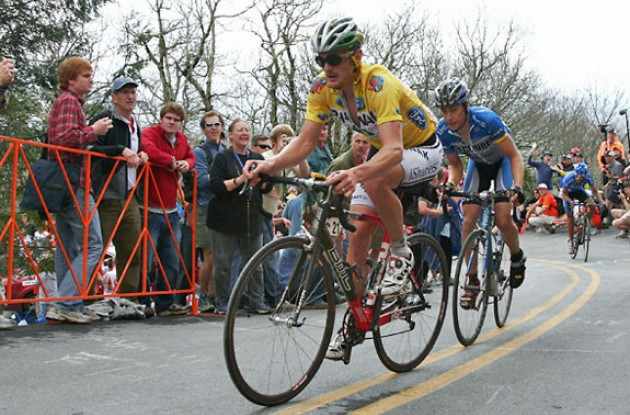 "Floyd Landis leads Danielson up Brasstown Bald. Photo copyright Ben Ross/Roadcycling.com/<A HREF=""http://www.benrossphotography.com"" TARGET=_BLANK>www.benrossphotography.com</A>."