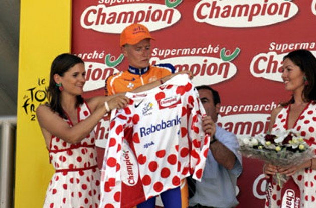"Armstrong is still wearing the polka dot jersey. Photo copyright Roadcycling.com/<A HREF=""http://www.benrossphotography.com"" TARGET=""_BLANK"">Ben Ross Photography</A>."