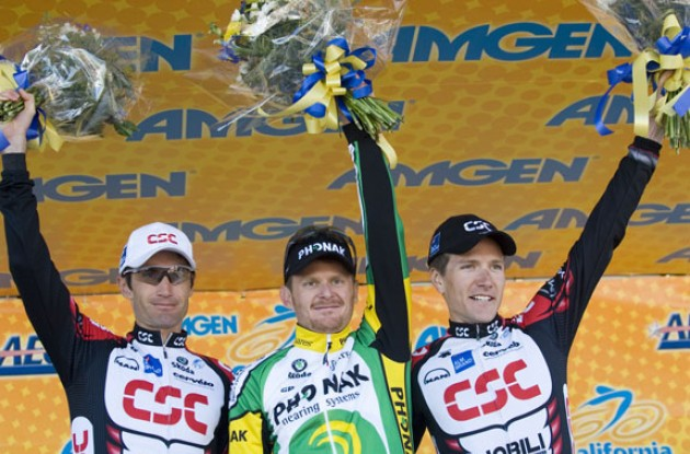 Landis, Zabriskie and Julich on the podium in San José, CA, USA. Photo copyright Roadcycling.com.