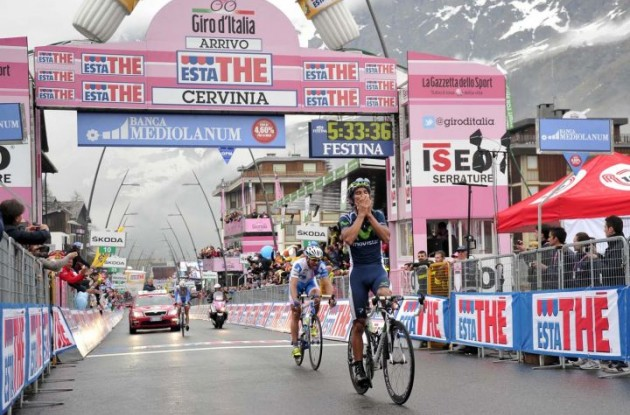 Andrey Amador of Team Movistar wins stage 14 of the 2012 Giro d'Italia.